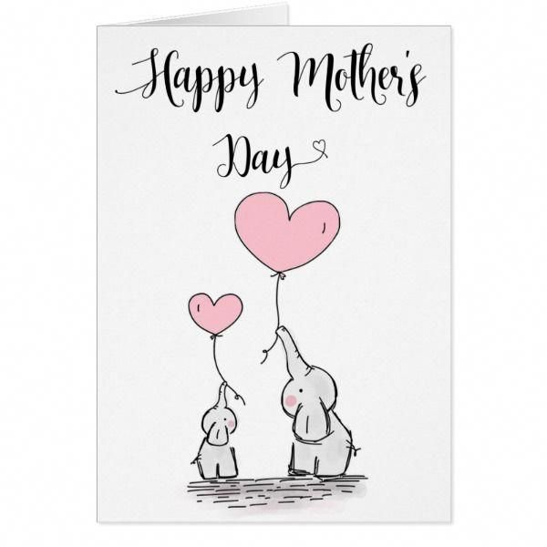 Cute Elephant And Baby Mother S Day Card Cards Christmascard Holiday Mother S Day Gift Card Happy Mother S Day Card First Mothers Day Gifts