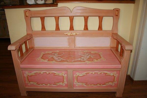 Ručne maľovaná ružová lavica - Martina Ševerová