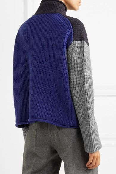 Victoria, Victoria Beckham - Oversized Color-block Wool Turtleneck Sweater - Midnight blue