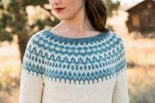 Вязание пуловера с жаккардом Meltwater, Interweave Knits весна 2014