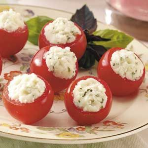 Caprese Tomato Bites     I love the classic combination of tomatoes, mozzarella and basil in these bite-size appetizers. The juicy explosion you get when you pop one into your mouth is the genuine taste of springtime.