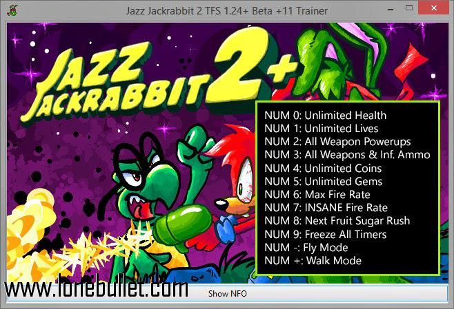 Get the Jazz The Jack Rabbit 2 Trainer for free download with a direct download link having resume support from LoneBullet - http://www.lonebullet.com/trainers/download-jazz-the-jack-rabbit-2-trainer-free-3828.htm - just search for Jazz The Jack Rabbit 2 Trainer Jazz The Jack Rabbit 2