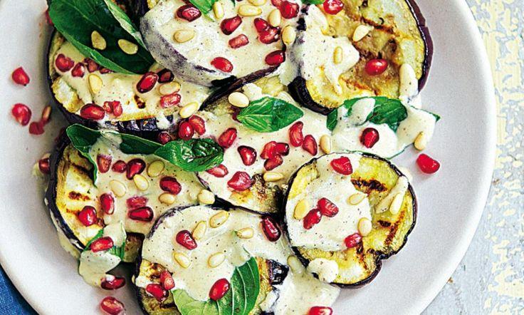 Recipe: Roasted aubergine with sumac and tahini dressing