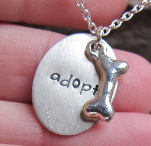 Adoption Necklace --- This would be a sweet way to commemorate bringing home your new pet! We encourage everyone to consider adopting their next pet from a humane society or shelter. These adoptable animals need to find their forever homes. If you're in the Canon City, CO, area, stop by the Humane Society of Fremont County to meet our adoptable cats and dogs. http://canoncityhumanesociety.org/