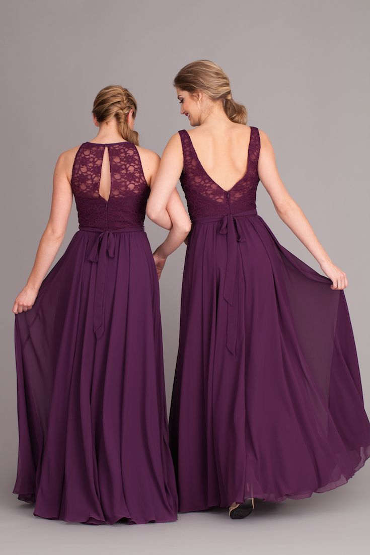 Everybody loves a pretty open-back dress! These lace and chiffon bridesmaid dresses are exactly what you and your 'maids have been looking for.