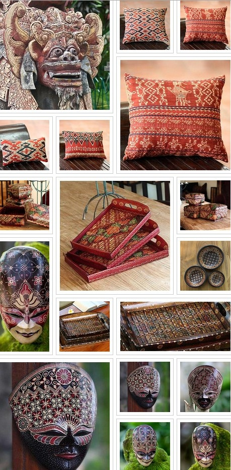 Your Indonesian Home This collection features beautiful handcrafted items from Bali and Java, including furniture, floor mats, placemats, pillows, lanterns and decorative umbrella. Bring a little of Indonesia into your home. SEE MORE: http://me.novica.com/koshari/sojourning-through-a-colorful-world/your-indonesian-home/7810/