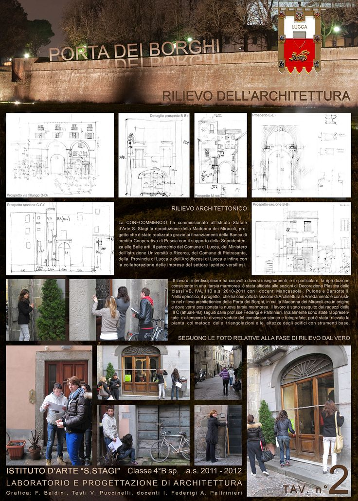 """""""Progetto Madonna dei Miracoli - Lucca 2012"""". Rilievo architettonico Classe 4B sez. Architettura. ISA/Liceo artistico statale """"Stagio Stagi""""."""