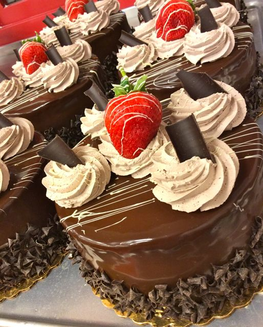 Chocolate Mousse cakes ready on the counter! #carlosbakery