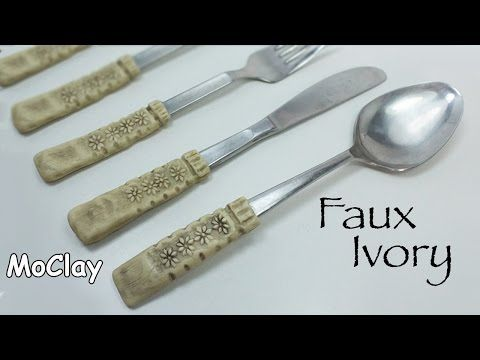 Faux Ivory - How to renew cutlery - Polymer clay tutorial- - YouTube