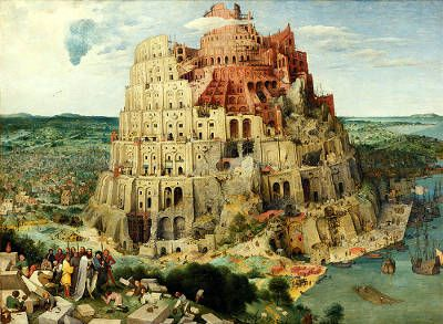 The biblical tower of Babel, built with the aim of reaching heaven. This angered God and he prevented it by spreading people throughout the world.