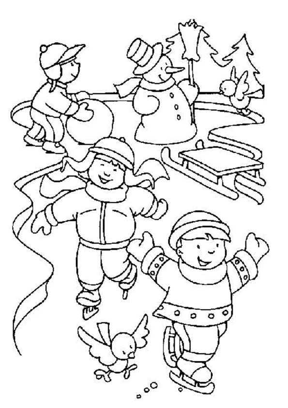 Coloriage noel patins sur Hugolescargot.com - Hugolescargot.com