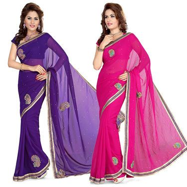 Buy Online Shopping Deals Offers In India Online store for Embroidered sarees Cheap sarees of Ishin Georgette material Get stylish wearing with these Pink & Violet sarees set A perfect gift for your wife or girl friend Pack of 2 Sarees with Blouse Piece Fashionable sarees for party occasion