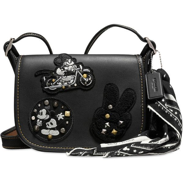 Mickey Mouse Patch Patricia Leather Saddle Bag by COACH Black ($280) ❤ liked on Polyvore featuring bags, handbags, shoulder bags, leather saddle bags, studded leather purse, leather saddle bag handbags, leather saddle bag purse and leather handbags