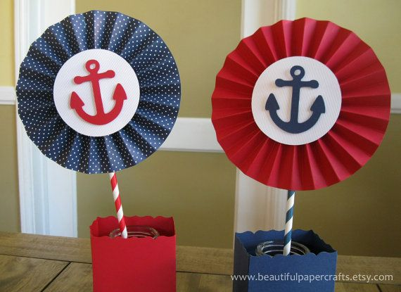 2 6 Nautical Rosettes Centerpieces Paper by BeautifulPaperCrafts