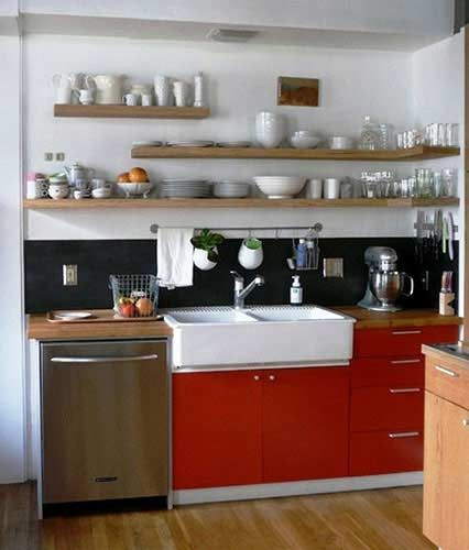 open shelving and bright red kitchen cabinets make this kitchen feel so fresh and chic - Open Shelves Kitchen Design Ideas