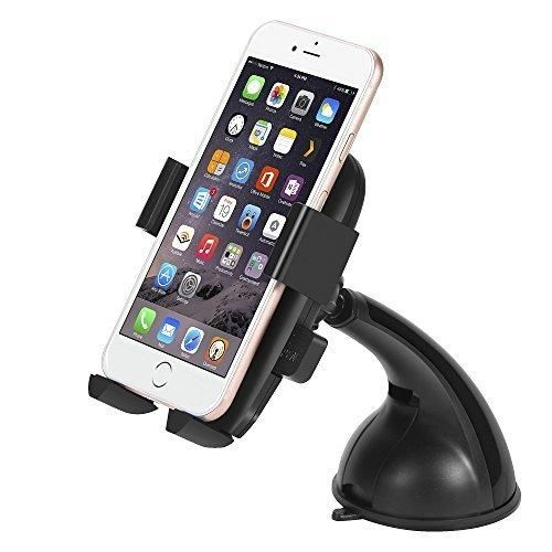 Car Mount JOOMFEEN Car Holder Universal Universal 360 Degree Swivel Car Cradle For Apple iPhone 6 6 Plus 6S 6S Plus 5SiPod TouchSamsung Galaxy S6 S6 Edge S5 S4NokiaMotorolaBlackberryHTC (Black)