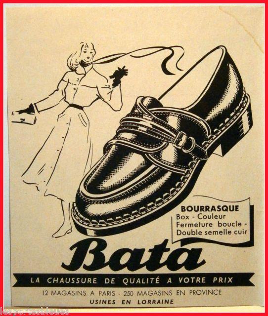 """Vintage Bata Advertisement: """"La Chaussure de qualité à votre prix"""" (The quality shoe at your price) France, 1951 #batashoes #bata120years #advertising"""