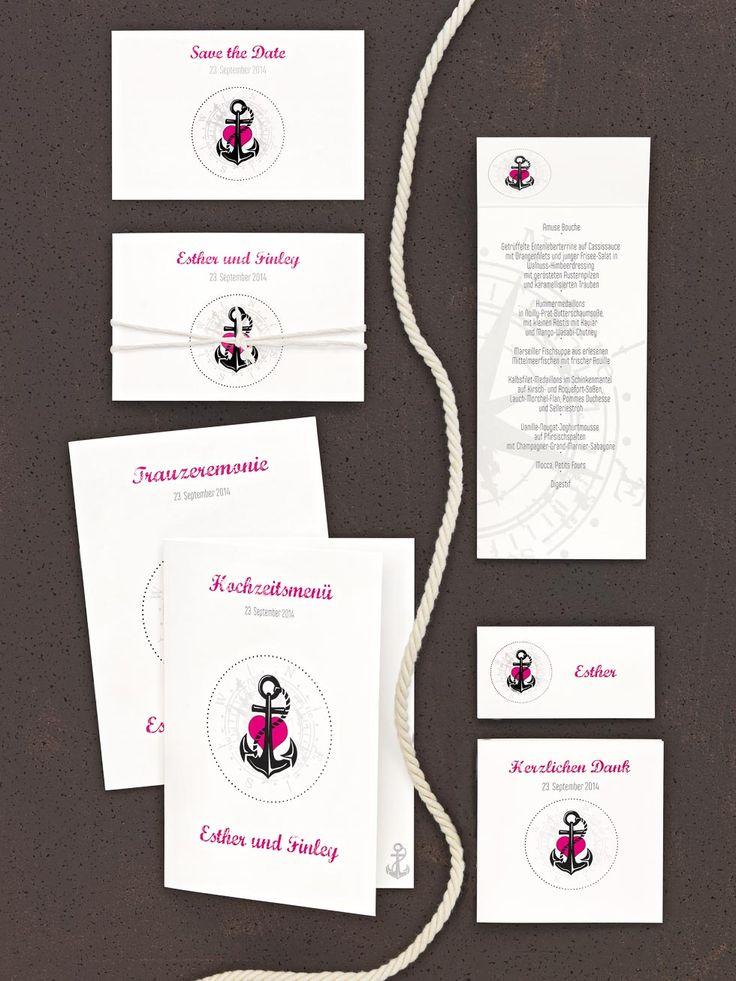 Moderne Kartenserie in Pink und Schwarz mit Anker--Logo und Kompass-Wasserzeichen von CariñoKARTEN bei www.weddingstyle.de