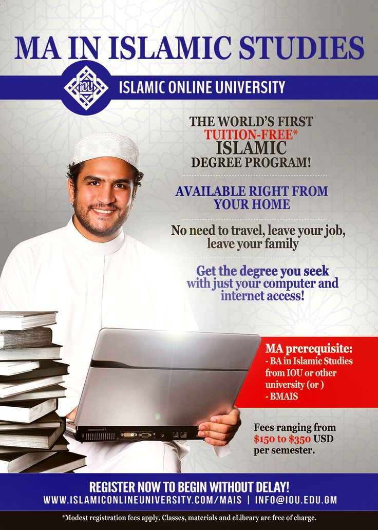 Masters in Islamic Studies. Completely Online and tuition free