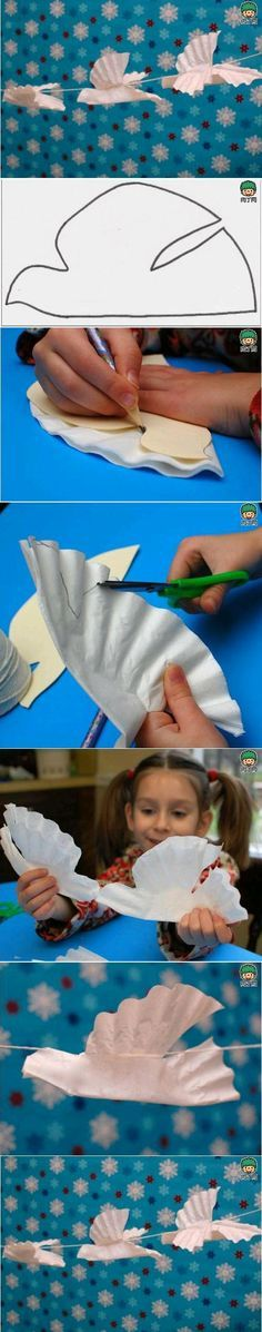 Good kid craft when reading any bible passage with a dove in it. Jesus' baptism, Pentecost passage, etc.