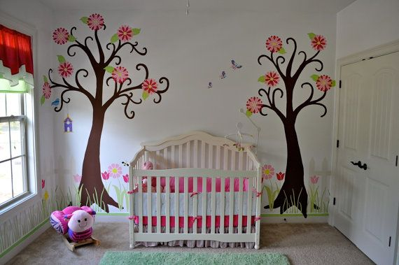 Wall Stencil, Large Tree and Flower Garden Wall Mural Kit for Girls Room and Baby Nursery, 34 wall stencil
