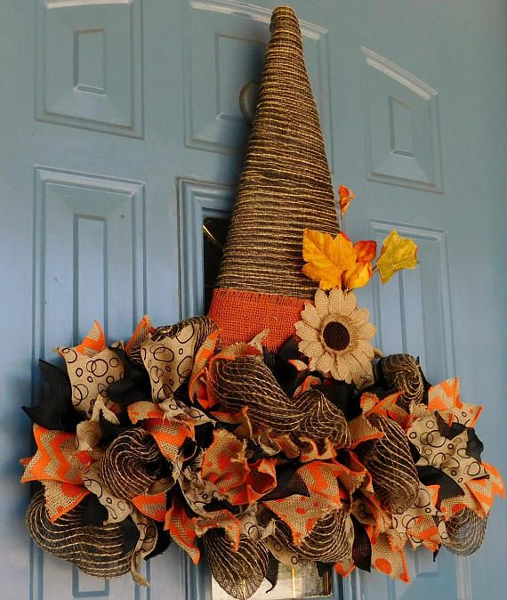 Rustic Deco Mesh Witch's Hat with Ribbon Brim and Burlap