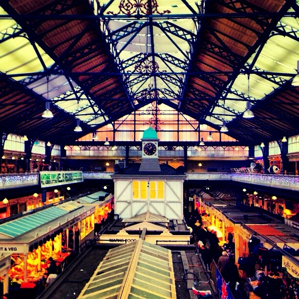 Cardiff Central Market.  Old Victorian building.  Amazing breakfast sarnies.  Jam split Welsh cakes that cost approx. 40p.  Love.