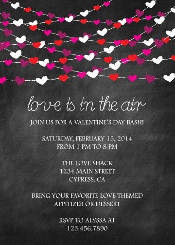 Love Is In The Air Valentines Day Invitation HPVAL4