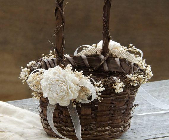 Rustic Flower Girl Basket Sola Flowers with Burlap Round Twig Basket Barn Wedding Made to Order