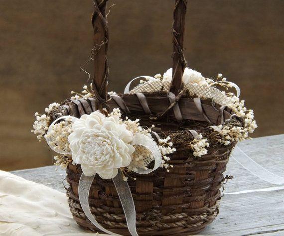 Rustic Flower Girl Basket Sola Flowers with Burlap Round Twig Basket Barn Wedding Made to Order