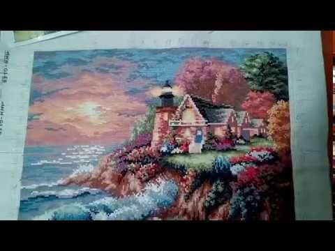 Вышивка крестом. Морской маяк. Часть III. Завершение работы - YouTube