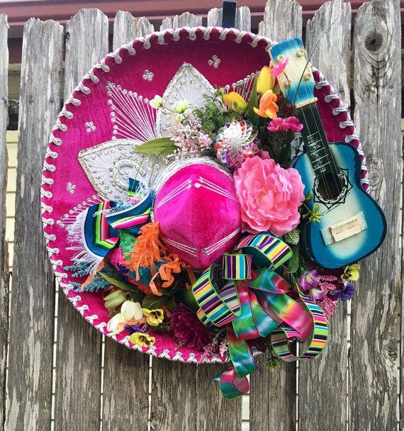"Fiesta Sombrero Wreath - Fiesta Wreath - Cinco de Mayo Wreath - Sombrero Wreath - Mariachi Hat Wreath ...handmade by ""She's Crafty by Clara Home Decor"""