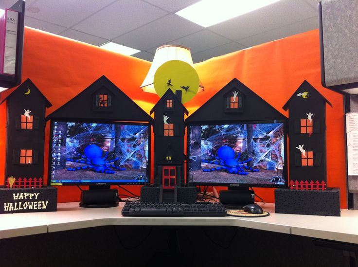 my cubicle workspace built by my clever husband halloween office decorationshalloween