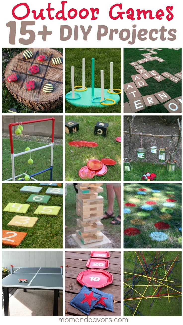 15+ DIY Outdoor Games on momendeavors.com! Perfect for summer parties!