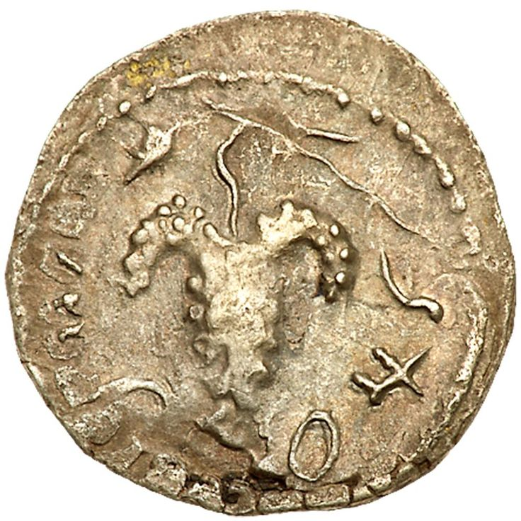 Judaea, Bar Kokhba Revolt. Silver Zuz (2.85 g), 132-135 CE VF (133/4 CE). 'Simon', bunch of grapes with leaf and tendril. 'Year two of the freedom of Israel' (Paleo-Hebrew), elongated lyre with three strings. Mildenberg 47.14 (O8/R27; this coin); TJC 242. The Mildenberg plate coin. Undertype of a Bostran drachm of Trajan visible on both sides. Lightly toned. The Brody Family Collection; Purchased privately, April 1987. The zuz of the second year (133/4 CE) of the Bar Kokhba War depict the…