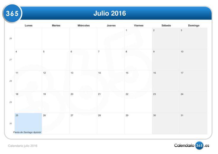 Calendario De Julio 2016 Con Festivos