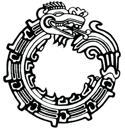 Aztec Ouroboros Quetzalcoatl Seven-segmented Aztec Ouroboros - The serpent god Quetzalcoatl is sometimes portrayed biting his tail on Aztec and Toltec ruins. A looping Quetzalcoatl is carved into the base of the Pyramid of the Feathered Serpent, at Xochicalco