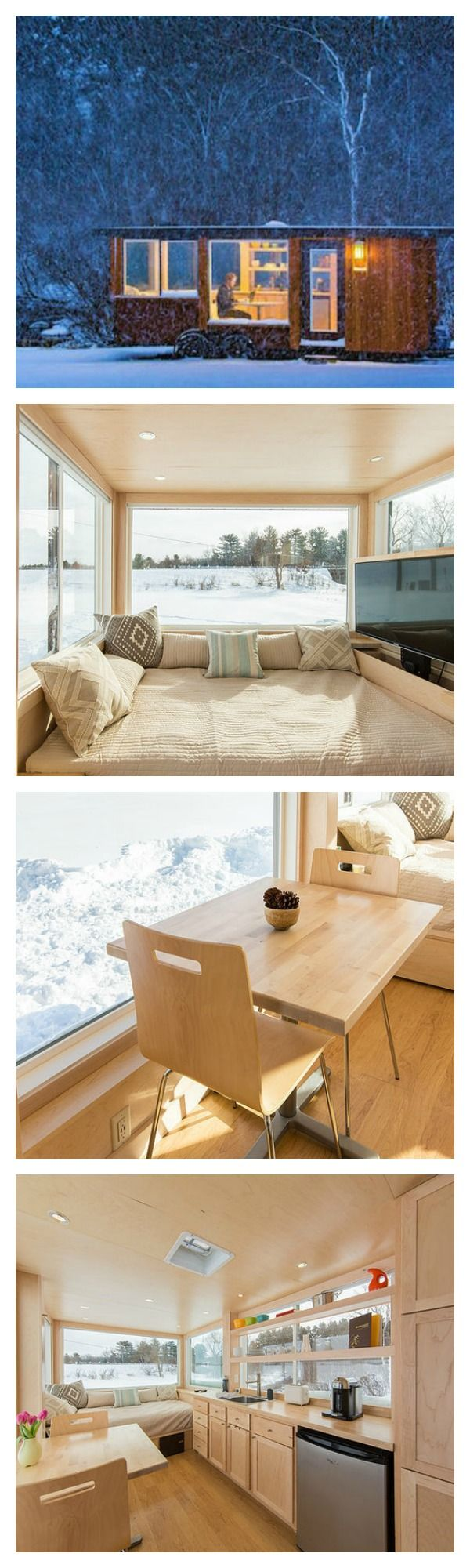 This cozy tiny house has modern finishings such as floor to ceiling windows that are perfect for watching the snow fall.