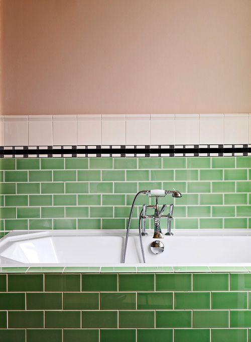 Subway tiled bath: Green Tile, Green Subway Tile, Decor Bathroom, Interiors Design, Beautiful Bathroom, Bath Tim, Bathroom Ideas, Tile Bath, Interiors Ideas