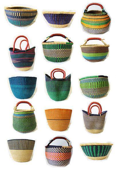 Ghana Bolga Farmers Market Shopper Basket by Swahili Imports