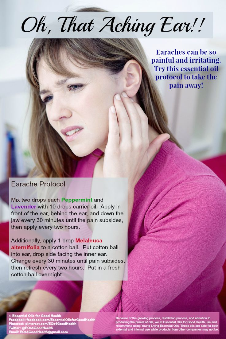 Earaches can be so very painful. This essential oils protocol can help chase the earache away. Check us out at Facebook.com/EssentialOilsforGoodHealth or on Twitter at Twitter.com/EOs4GoodHealth for more helpful information.
