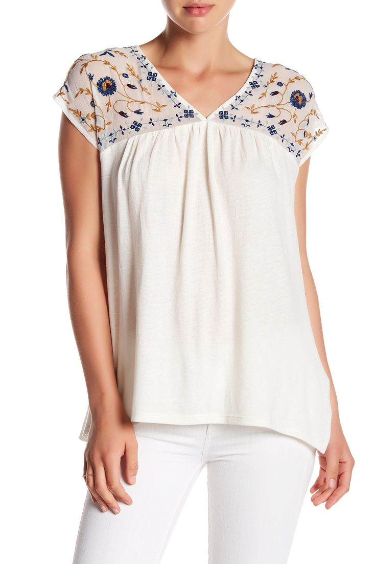 Sheer Yoke Embroidered Blouse by Lucky Brand on @nordstrom_rack