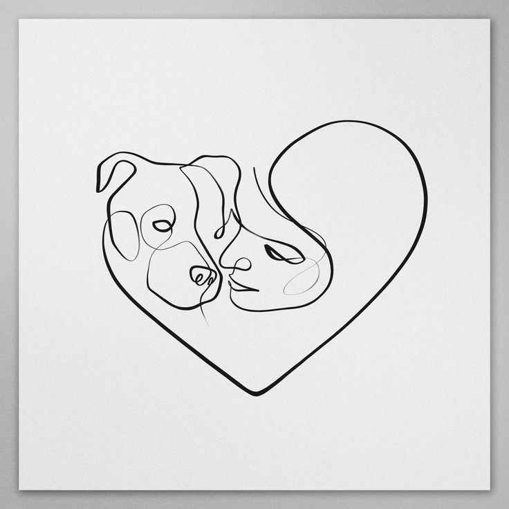 One Line Drawing, Minimal Dog Art, Line Art, Dog Gift, Continuous Line, Single Line, One Line Print, Custom Dog Art, Gifts for Her – Fransheska Santiago