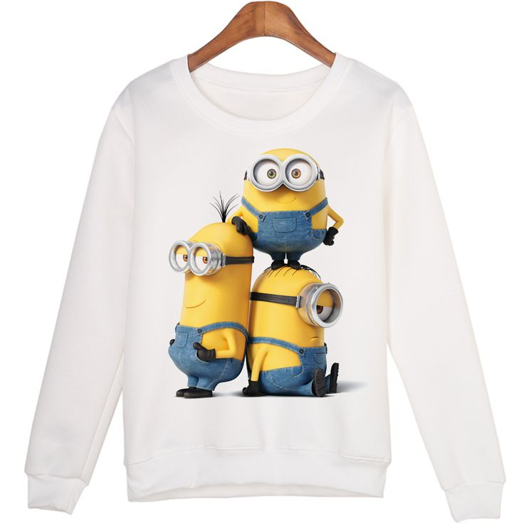 New Arrival Hooded Women Sweatshirts Funny Three Minions Print Pullovers Casual Hoody Long Sleeve Jumper White Hoodies