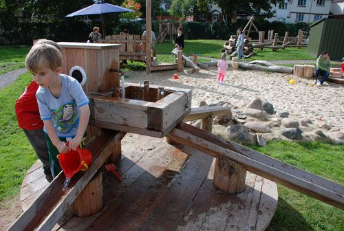 Playground Build & Design | Natural Child Play | Earth Wrights Ltd (pumped rainwater has 3 places to go..think I'd run one into a sandbox for spot available)