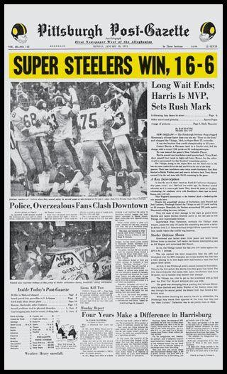 Pittsburgh Steelers Wood Mounted Poster Print - Super Steelers - Super Bowl 9 IX