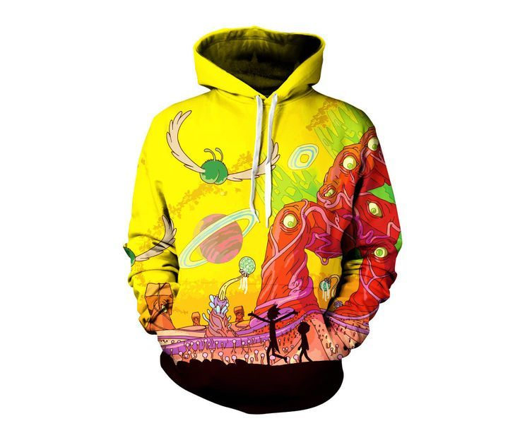 Rick and Morty Alien Pullover Hoodie - Trippy Planet Artwork Sweatshirt - Adult Swim Festival Clothing | Great Gifts by GratefullyDyedDamen on Etsy https://www.etsy.com/uk/listing/478474778/rick-and-morty-alien-pullover-hoodie