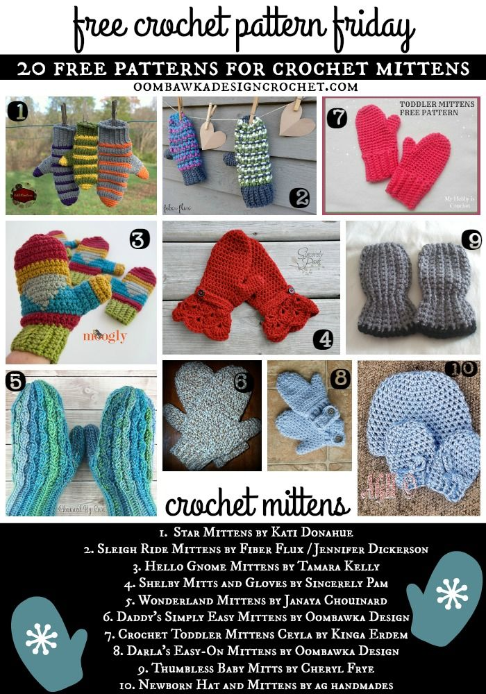 20 Free Patterns For Crochet Mittens Crochet Crochet Mittens