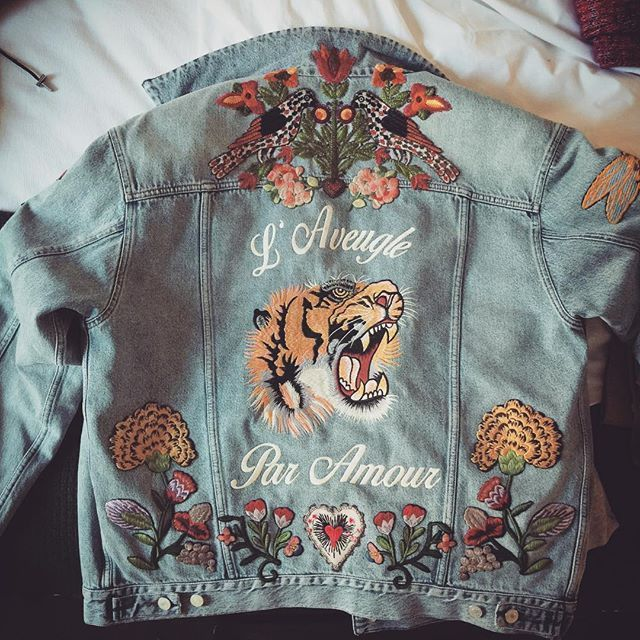 All my wishes made into an embroidered denim jacket