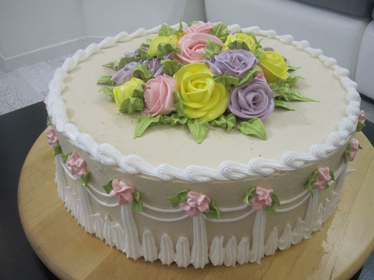 Cake Decorating Cream Flowers : 49 best Sheet cakes images on Pinterest Cakes ...